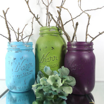 Country Decor | Hand Painted Mason Jars -- Green, Purple and Blue, Rustic, Home Decor --  Painted Tabletop Decor