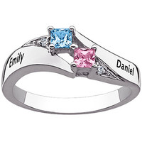 Walmart: Personalized Sterling Silver Couple's Name and Square Birthstone Diamond Accent Ring
