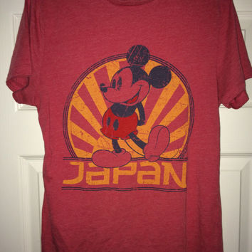 Sale!! Vintage MICKEY MOUSE Japan red T shirt Disney tee