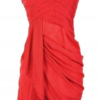 Red Strapless Sweetheart Dress with Chiffon Drape Overlay