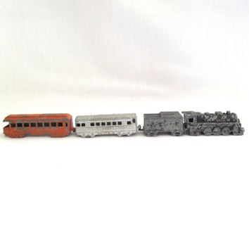 Vintage Midgetoy Train Cars - Die Cast Metal Collectible Train Set - Locomotive Engine, Coal Car, Passenger Car