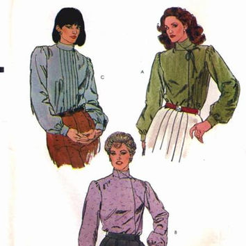 Vogue Sewing Pattern 7877 Misses Blouse Pleated Shirt Retro 80s Top High Neck Blouson Sleeve Bust 32