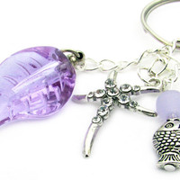 Starfish Keychain, Beach Keychain, Vial Key Chain, Purple Vial Keychain, Fish Keychain, Purple Leaf Keyring, Car Accessory