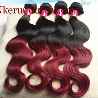 Colored Ombre Brazilian Virgin Hair Weaves Burgundy Red/1b Brazilian Body Wave Ombre Human Hair Extension 3 Pcs,Free Shipping