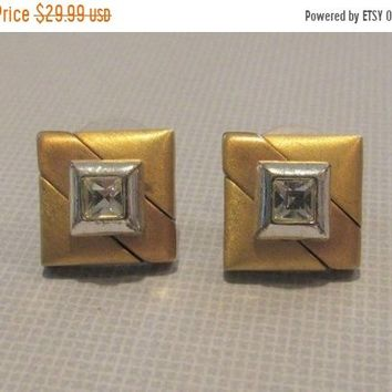 ON SALE Vintage Signed Napier Gold, Silver, & Crystal Pierced Earrings