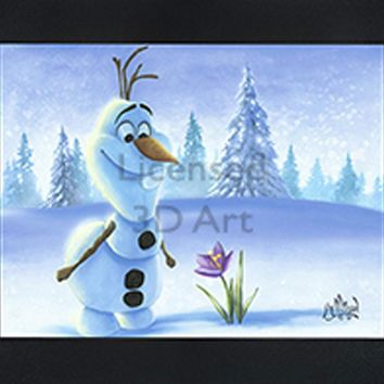 Olaf | Snowman | In Spring | 3D Art | By PFF | Framed | 3-D | Lenticular Artwork | Disney Licensed
