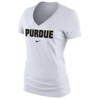 Purdue Boilermakers Nike Women's Arch Cotton V-Neck T-Shirt - White