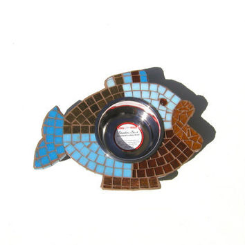 Multi-Colored Mosaic Fish Diner, mosaic cat feeder, elevated dog or cat bowl