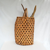 Unique Tall Wicker Basket with Driftwood, Beach House Décor, Rustic Wicker Woven Farmhouse Basket