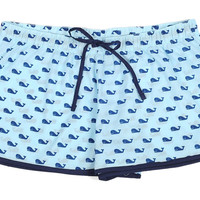 Whales Blue Women's Boxer, Pajamas