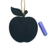 Wooden Gift Tag, Gift Tag, Chalkboard Tag, Present Tag, Apple, Glitter Gift Tag, Teacher's Gift, Wooden Apple, Red, Green, Black, Keepsake