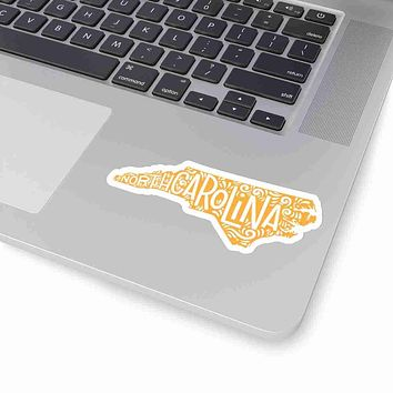 North Carolina State Shape Sticker Decal - Yellow