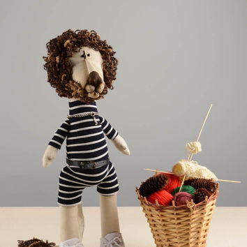Handmade designer interior cloth soft toy lion in striped overall and white vans