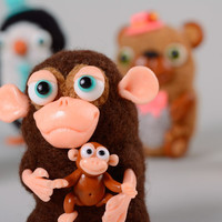 Handmade soft toy Natural home decor Modern gift ideas Stuffed animals Monkeys