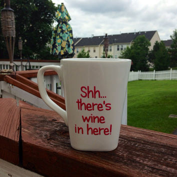 Wine coffee mug funny gift by BellaCuttery on Etsy