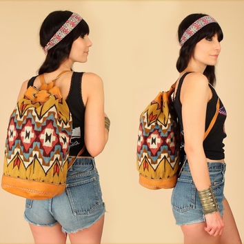 ViNtAgE Tribal KILIM Backpack // Colorful Handwoven Brown Leather // Feather Arrow Detail // Artisan Handbag Weekender Festival Bag