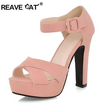 REAVE CAT Summer shoes Fashion ankle strap Orange thick high heels Sandals Platform Open toe ladies women shoes Brand QL4445