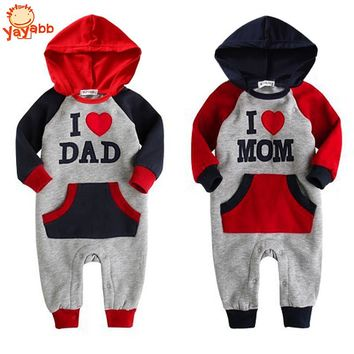 High Quality Spring Autumn Baby Clothes I Love Dad & Mom Baby Rompers Hooded Baby Long Sleeve Jumpsuit Menino and Menina 2017