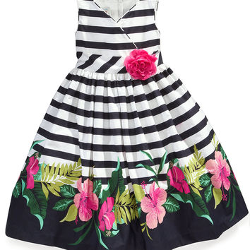 Marmellata Kids Dress, Little Girls Stripe Floral Border Print Sundress
