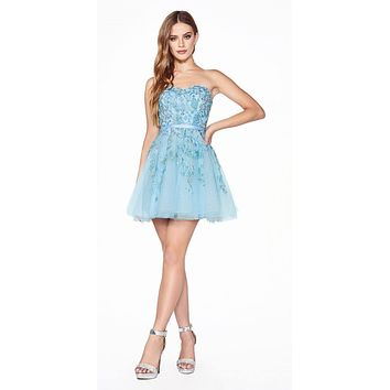 Appliqued Ice Blue Homecoming Short Dress Strapless