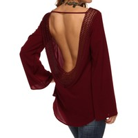 Promo-burgundy Deep Open Back Crochet Top