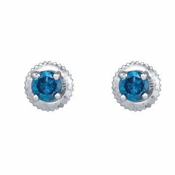 10k White Gold Women's Blue Round Diamond Solitaire Screwback Stud Earrings - FREE Shipping (US/CA)