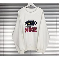 Nike Popular Unisex Causal Logo Print Short Sleeve Round Collar Sweater Pullover Top White I-XMCP-YC