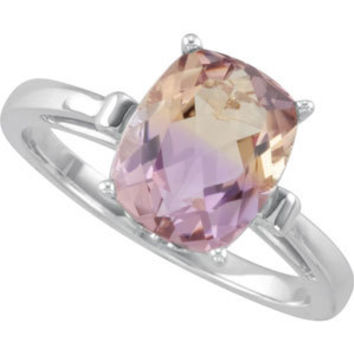 Antique Cushion Cut Ametrine Fluer de Lis Style 14kt gold ring