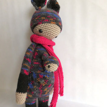 Kira the kangaroo, Lalylala inspired crochet doll.