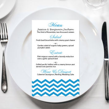 Wedding Menu Card Editable PDF Template - 4x7 Malibu Blue Chevron Printable Menu - Instant Download - Adobe Reader Format - DIY You Print