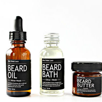 MEN'S GIFT SET. beard oil + beard bath wash + beard butter balm. 100% natural beard care set.