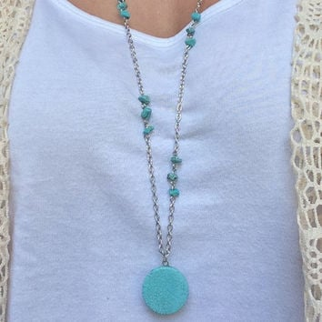 Turquoise Pendant Necklace/ Turquoise Necklace/ Turquoise Long Necklace/ Extra Long Necklaces/ Bohemian Fringe/ 36""