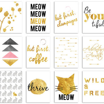 """12 Gold and Black Project Life Inspired Journal Digital Scrapbooking Cards 3x4"""" - For Professional Printing or Printable at Home"""