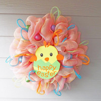 Pink and Yellow Deco Mesh Easter Wreath