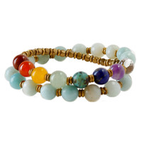 "Throat Chakra, Genuine Faceted Amazonite ""Confidence"" 27 Bead Wrap Mala Bracelet"