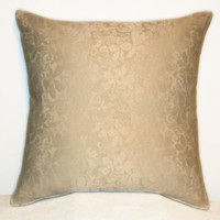 "Pillow Covers 18"" Set of Two - Shimmery Ivory Leaf Pattern"