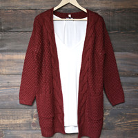late at night knit cardigan - burgundy