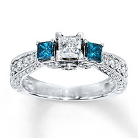Blue Diamond Ring 1 carat tw Princess-Cut 14K White Gold