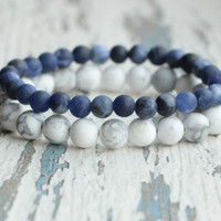 Blue white bracelet beaded bracelet Double summer bracelet boho energy jewelry Gift for her Stretch bracelet Matte gemstone sodalite howlite