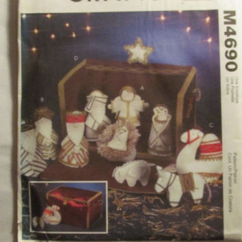 SALE Uncut McCall's Sewing Pattern, 4690! Nativity Scene/Set/Eleven Piece Nativity Collection/Wise Men Figurines/Mary/Joseph/Jesus/Camel/Hor