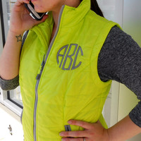 Monogrammed Quilted Vest font shown NATURAL CIRCLE