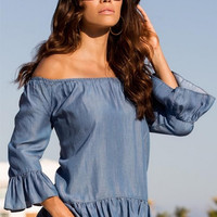 Blue Off the Shoulder Ruffles Blouse