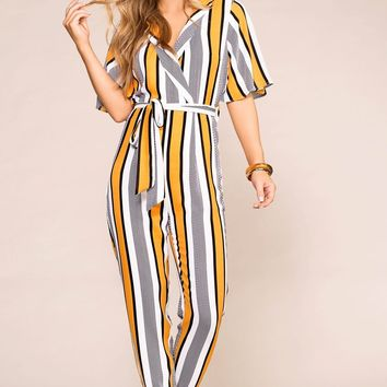 You're Golden Striped Jumpsuit
