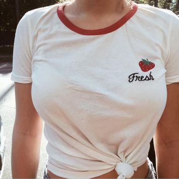 fashion letters strawberry print t shirts