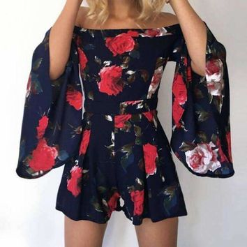 Summer 2018 Women Playsuits Flare Sleeve Slash Neck Lady Sexy Playsuits Floral Printed Bohemian Rompers Plus Size Femme GV524