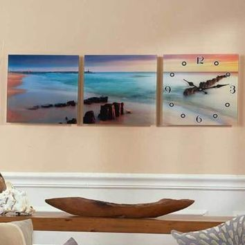 3-Pc Beach Sunset Ocean Glass Panel Wall Art With Clock Realistic Home Decor