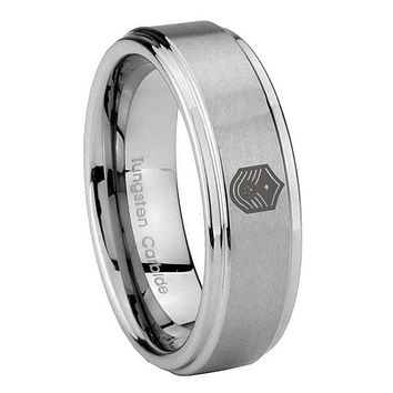 8MM Chief Master Sergeant Vector Step Edges Silver Tungsten Carbide Laser Engraved Ring