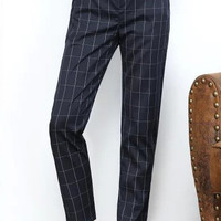 Checkered Pants in Dark Blue or Grey