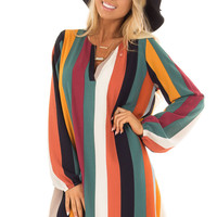 Multi Color Striped Woven Dress with Bishop Sleeves