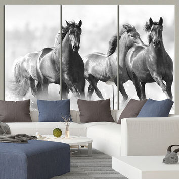 Large Wall Art Running Wild Horses Canvas Print - 3 Panel Large Horse Canvas Art Print - MC40